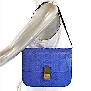 Celine indigo med Box Python bag w gold hardware 8bbdce9305